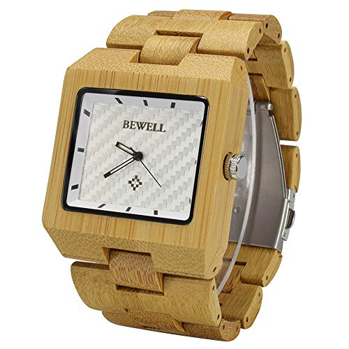 BEWELL Herrenuhr Armbanduhr Holz Analog Japanisches Quarzwerk mit Holzarmband Eckig Casual Holzuhr W016B (Gold)