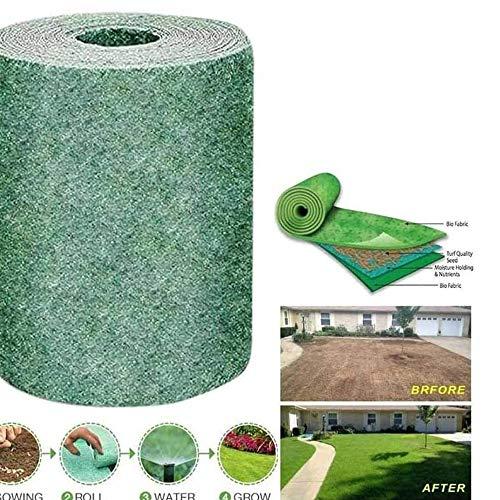 Tapis de semences de Gazon Rouleau de Jardin Couverture écologique Biodégradable Non-tissé pour Jardins extérieurs, sans graines de Gazon