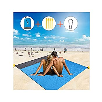 HENGBIRD Couverture de pique-nique étanche en nylon pour la plage, le camping, la randonnée et les excursions, couverture de plage (bleu)