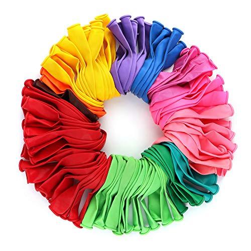 Globos de Cumpleaños,100 Globos de látex Colores Biodegradable Fabricado Globos Metalizados para Fiestas, Comuniones, Cumpleaños, Eventos