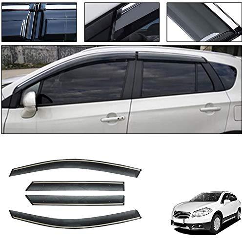 saitake Windabweiser Für Suzuki S-Cross 2014-2019 4PCS Autofenster Visier Sonne Regen Rauchabzug Schatten Klebeband Außenvisiere