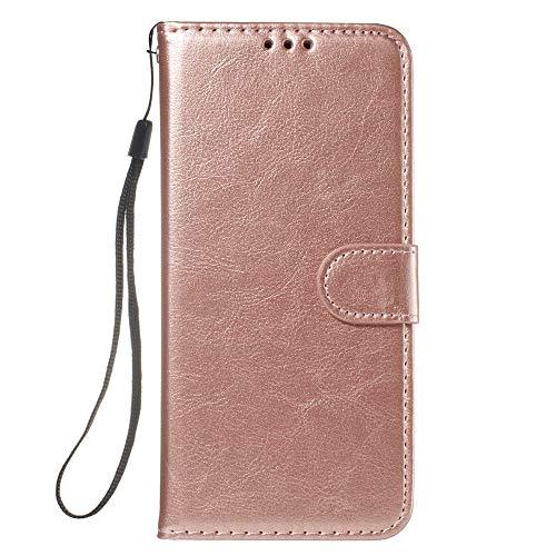 HUAI Funda de piel tipo libro para iPhone 11 para Pro Max5 5S SE 6 6S 7 8 Plus X XS MAX XR funda de teléfono con ranuras para tarjetas (color: CSFMW oro rosa, material: para iPhone 11 Pro)