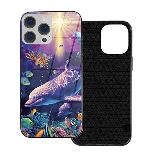Funda de vidrio para iPhone 12 3D Ocean Fish Sunlight Seaworld flexible suave TPU protección trasera de vidrio templado a prueba de golpes para iPhone 12/12 Pro/12 Mini/12 Pro Max