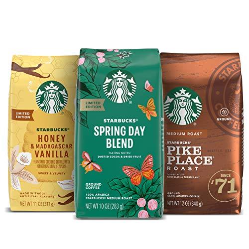 Starbucks Medium Roast Ground Coffee — Spring Variety Pack — No Artificial Flavors — 3 bags (10, 11, 12 oz)