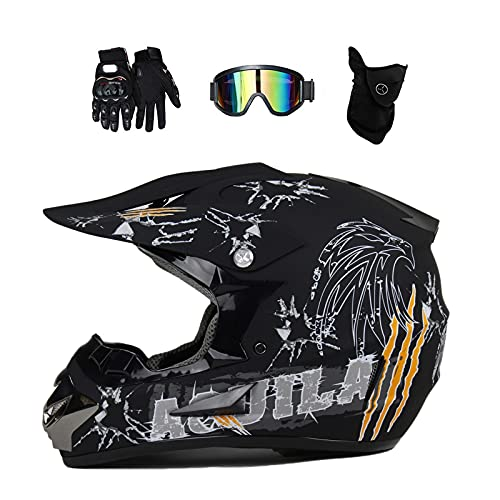 VOMI Casco Motocross Niño con Gafas (4 PCS), Casco Cross Negro, Casco MTB Integral para Downhill Off-Road Enduro Scooter Racing Motocicleta Quad,L