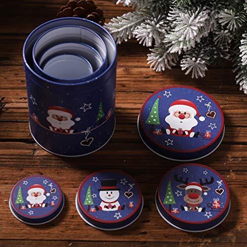 JIACUO Kerstmis Zoete Kaars Koekje Koekje Opbergdoos Tin Thee Munt Container Case Organizer Bruiloft Favor Decor