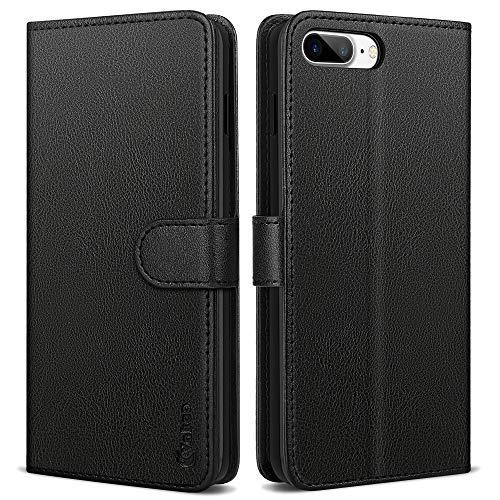 Vakoo Serie Wallet Custodia Cover per iPhone 7 Plus, Cover iPhone 8 Plus, Nero