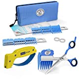 Scaredy Cut Silent Pet Grooming Kit for Dog, Cat and All Pet Grooming - A Quiet Alternative to Electric Clippers for Sensitive Pets (17pc RH + Scissor Sharpener, Blue)
