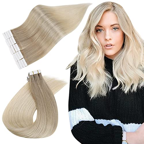 Easyouth Tape in Extensies 16inch Kleur Color 18/60 Ash Blonde Mix with Blonde 40g Balayage Glue in Extension Tape Seamless Remy Hair Extensions