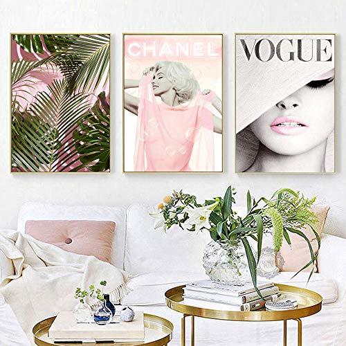 Tanyang Stampe Foglie di Fiori Rosa Couture Moderna Wall Art Vogue Poster Tela Pittura Decorazioni per la casa Immagini Moda Cuadros No Cornice 50 * 70 cm * 3