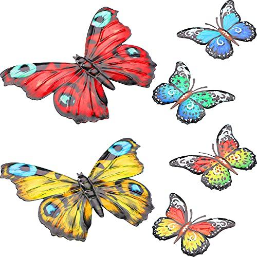 6 Esculturas de Arte de Pared de Mariposa de Metal Decoración de Pared Colgante de Mariposa...