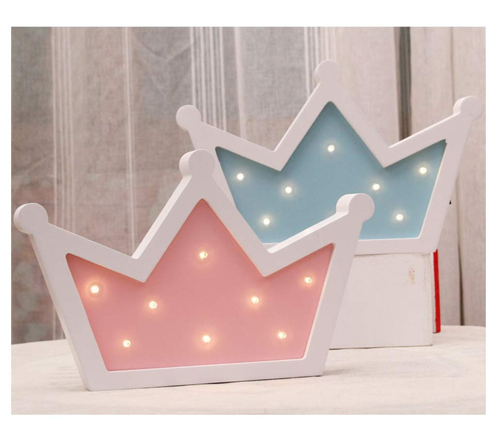 Christmas Kids Room Queen Princess Kings Shaped Sign-Lighted,Crown Decor for Birthday Wedding Party Blue Living Room Decor Sweet FanMuLin Crown LED Light Wall Decor