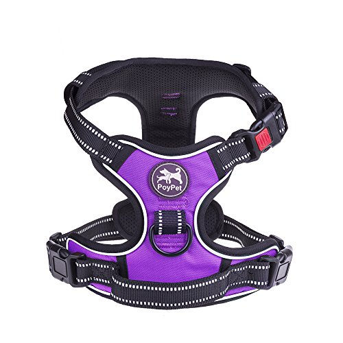 PoyPet No Pull Dog Harness, Reflective Vest Harness with 2 Leash Attachments and Easy Control Handle(Purple,M)