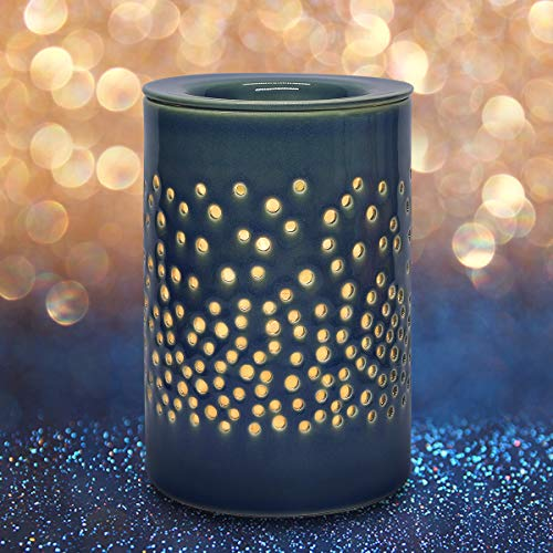 Bobolyn Ceramic Electric Wax Melt Warmer Candle Waxing Warmer Burner Melt Wax Cube Melter Fragrance Warmer- Ideal Gift for Wedding, Spa and Aromatherapy (Blue-Halo House)