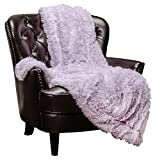 Chanasya Super Soft Fuzzy Shaggy Faux Fur Throw Blanket - Chic Design Snuggly Plush Lightweight with Fluffy Reversible Sherpa for Couch Living Room Bedroom Home Décor (50x65 Inches) Purple Orchid