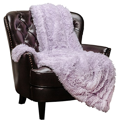 Chanasya Shaggy Longfur Faux Fur Throw Blanket - Fuzzy Lightweight Plush Sherpa Fleece Microfiber Blanket - for Couch Bed Chair Photo Props (50x65 Inches) Light Purple Orchid