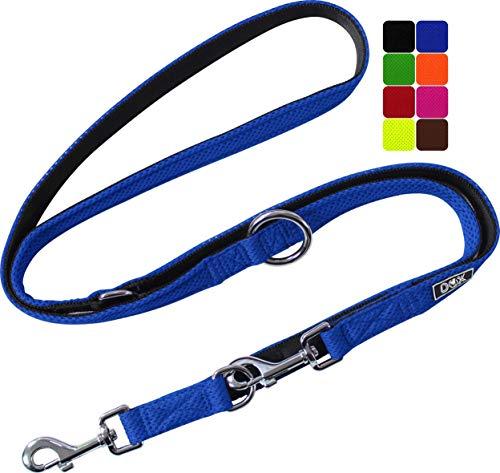 DDOXX Hundeleine Air Mesh, 3fach verstellbar, 2m | für kleine & große Hunde | Doppel-Leine Zwei Hund Katze Welpe | Schlepp-Leine groß | Führ-Leine klein | Lauf-Leine Welpen-Leine | Blau, S