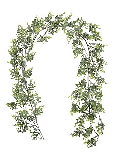 Famibay 2 Pack Artificial Eucalyptus Garland 12Ft/Total Faux Eucalyptus Greenery Garland for Wedding Backdrop Arch Wall Decor Table Party Home Decoration