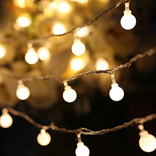 AOKKR Cadena de Luces Led, Farolillos Decorativos con Pilas y Mando, IP44 Impermeable 8 Modos, 10M 80 LED, Guirnaldas Luces Led para Interior, Casas,Fiestas, Bodas, Jardín