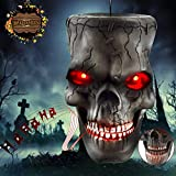 Decoración de Halloween Zombi Esqueletos Cabeza de calavera Tenebrosos Colgantes para Colgar Fantasma con Ojos iluminados, Control de Sonido de Voz aterradora, Accesorios para Halloween