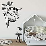 BailongXiao Lazy Wall Decal Woodland Animal decoración de la habitación de los niños Ramas y Hojas Tropicales Pegatinas de Pared Dormitorio Sala de Juegos póster de Pared 85x114cm