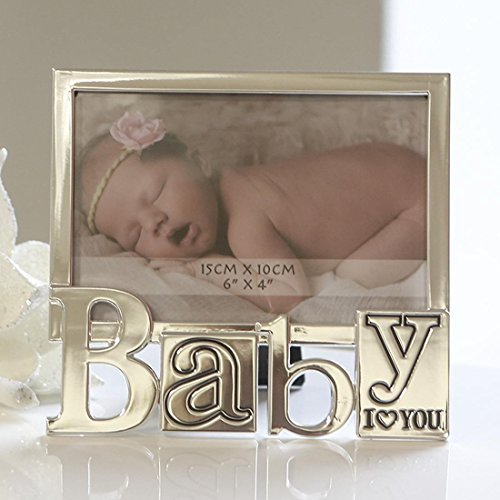 Cadre de photo moderne aluminium argent I LOVE YOU BABY 10x15 cm