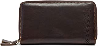 Long Leather Large-Capacity Zipper Wallet in Men's Leather Candys house (Color : Brown)