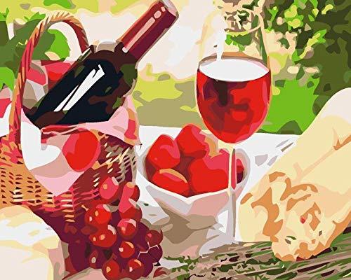 Heyazc Pintar por Numeros Adultos Niñost Principiantes, DIY Paint by Numbers, Pintura por Numeros Pintura al óleo para Decoración del Hogar 40X50cm Fruta de Vino Tinto(Sin Marco)