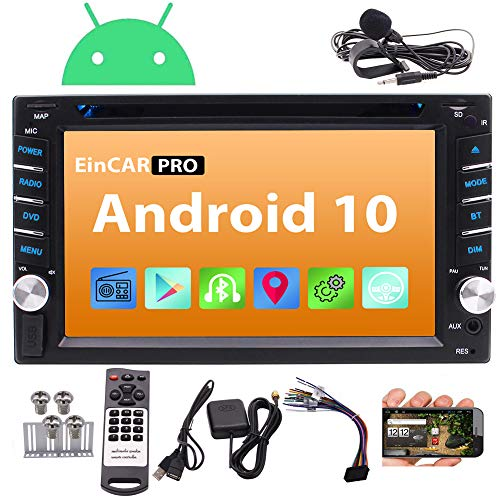 auto radio with dvd cds Android 10.0 Car Stereo Double Din Car DVD CD Player with GPS Navigation Bluetooth in Dash Stereo System Capacitive Touchscreen Radio Receiver 1080P WiFi Mirror Link SWC External MIC Remote Control