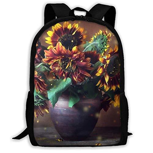 hengshiqi Rucksack Schultasche,Backpack, Adult Backpacks Girl's Shoulder Bag Bookbags School Season Sunflower 3D Real Painting Traveling Bags