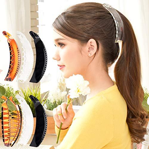 RC ROCHE 6 Stück Premium Haarklammern Haarspangen Klemmen Geschwungen Bananen Französische für dickes Haar Pferdeschwanz, Groß Durchsichtig Braun und Schwarz