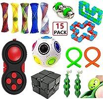 EDsports 12 Pack Sensory Fidget Toys Set-Bike Chain,Marble Fidget Toys,Rainbow Magic Sensory Balls,Squeeze-a-Bean...