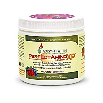 BodyHealth PerfectAmino XP Mixed Berry  30 Servings  Best Pre/Post Workout Recovery Drink 8 Essential Amino Acids Energy Supplement with 50% BCAAs 100% Organic 99% Utilization