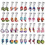 20 Pairs Clip on Earrings Princess Play Jewelry Earrings Set Mermaid Clipons Hoops Clipon Earring Lollipop Ice Cream Dangle earring Rainbow Eardrop for little girls Toys