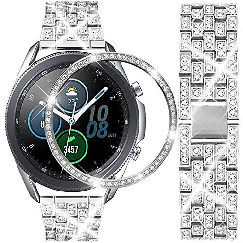 20mm 22mm Correa De Reloj + Bisel Samsung Galaxy Watch 41/42/45 / 46mm Mujer Banda De Pulsera De Eslabones Metálicos 1033 (Band Color : Silver, Band Width : Galaxy watch 46mm)