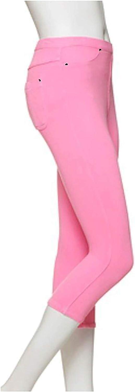 HUE Womens Original Denim Capri Leggings (Neon Pink, Small 4-6)