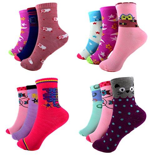 SOFTSAIL 10 Paar Kids Mädchen Socken Damen Freizeit Strümpfe 80% Baumwolle Bunt Gr. 32-39 A.44024 + Silikon Armband (35-39)