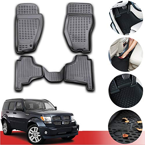 OMAC Custom Fit Floor Mats Liner All-Weather 3D Molded Black Compatible with Dodge Nitro 2007-2011
