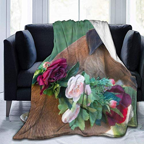 Manta de Microfibra Ultra Suave, Mantas cómodas con Borde Cosido de Flores y Perro Boxer, Alfombra térmica portátil de Felpa para sofá Cama