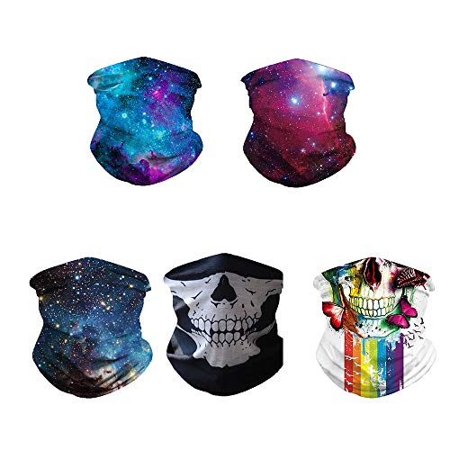 Rainlin 5 Pack Fashion Bandanas Casual Neck Gaiter Wind Proof for Outdoor Camping (Pattern #3)