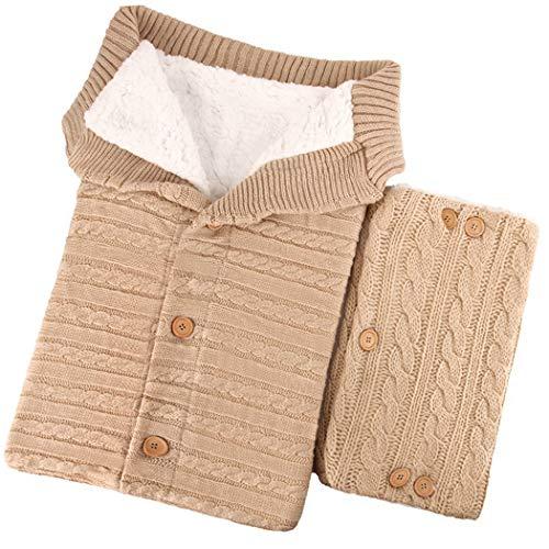 ZOYLINK Manta Swaddle de punto Felpa suave y lavable Manta Swaddle para niños Bolsa para niños Envoltura para dormir con guante para dormir