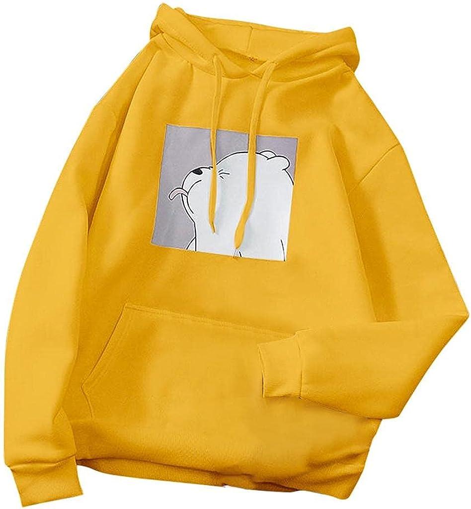 BABAKE Hoodies for Women Plus Size,Women's Long Sleeve Hoodie Crop Top Frog Print Sweatshirt Cute Hoodies Teens Girls Casual Pullover Tops Yellow
