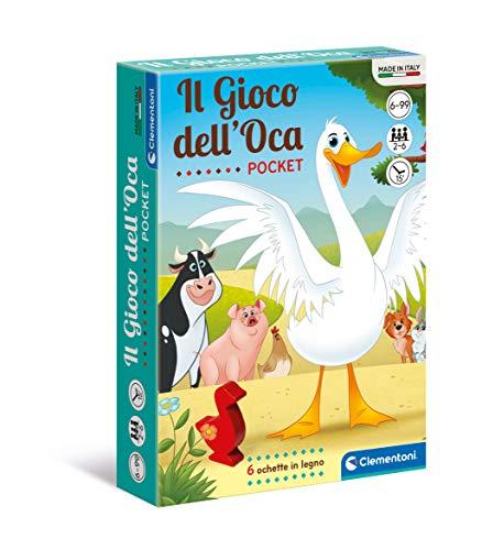 Clementoni dell'Oca-Pocket-mazzo, carte bambini, tavolo, gioco di società per tutta la famiglia, 2-6 giocatori, 6 anni+, Made in Italy, Multicolore, 16295