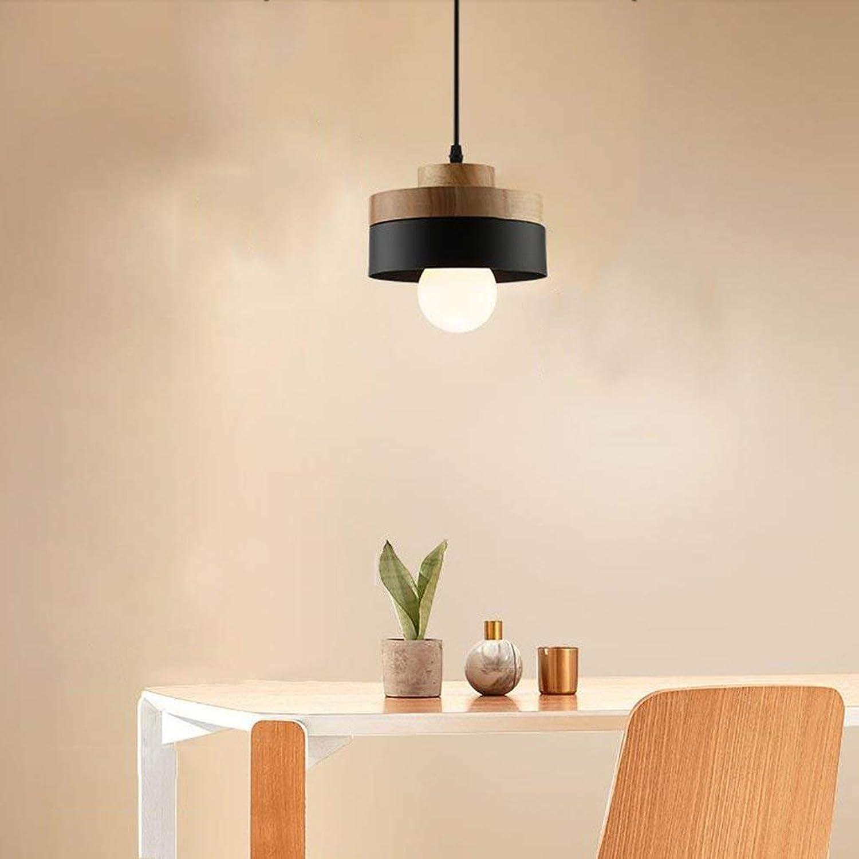 QAZ Pendentif de bois moderne lampe lustre en fer minimaliste Chambre Salon Salle à hommeger Chambre d'éclairage Lampe étude (Couleuré  B-Round)