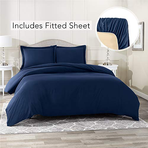 Nestl Bedding Duvet Cover 4 Piece Set - Ultra Soft Double Brushed Microfiber Hotel Collection - Comforter Cover with Button Closure, Deep Pocket Fitted Sheet, 2 Pillow Shams, King - Navy