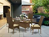 East West Furniture OSOS502A 5Pc Outdoor Brown Wicker Dining Set Includes a Patio Table and 4 Balcony Backyard Armchair with Linen Fabric Cushion