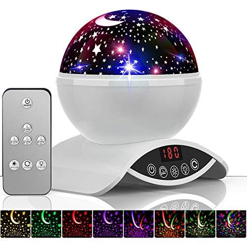 Amouhom Sternenhimmel Projektor Lampe mit Fernbedienung, LED Nachtlicht mit Wiederaufladbare Batterie 360 Drehen und Timing Schlaflicht für Kinders Schlafzimmer für Frauen (Weiß)