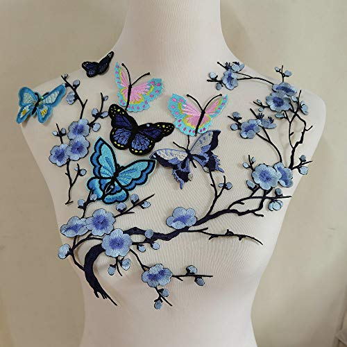 10PCS Butterfly Embroidery Applique Patch Iron on Cotton Applique Butterfly Patch (Blue B)