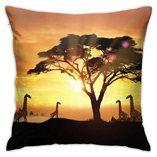 suichang Quadratische Kissenbezüge, Origami Giraffen Kurzer Plüschkissenbezug, weiche dekorative Kissenbezüge für Sofa Schlafzimmer Auto 18 'X18'