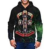 LutherStamm Men's Midweight Hooded Zip Front Guns N Roses Basic Sweatshirt 3XL